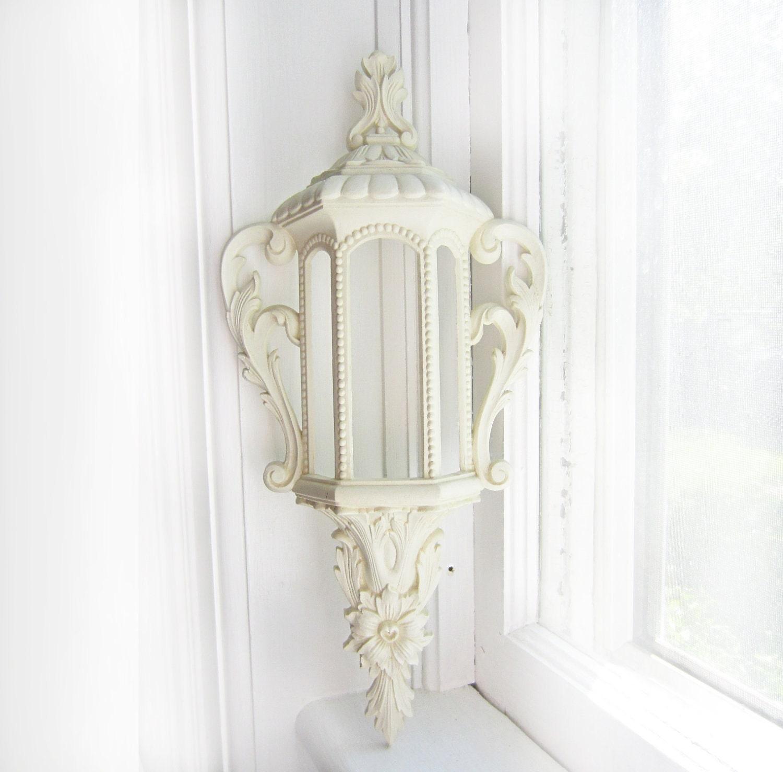 Vintage White Burwood Lantern Wall Hanging- 585-1 A - TheeLetterQ