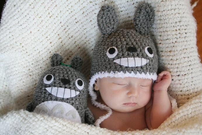 Newborn Crochet Totoro Gift Set (Newborn Totoro Hat and a Doll)
