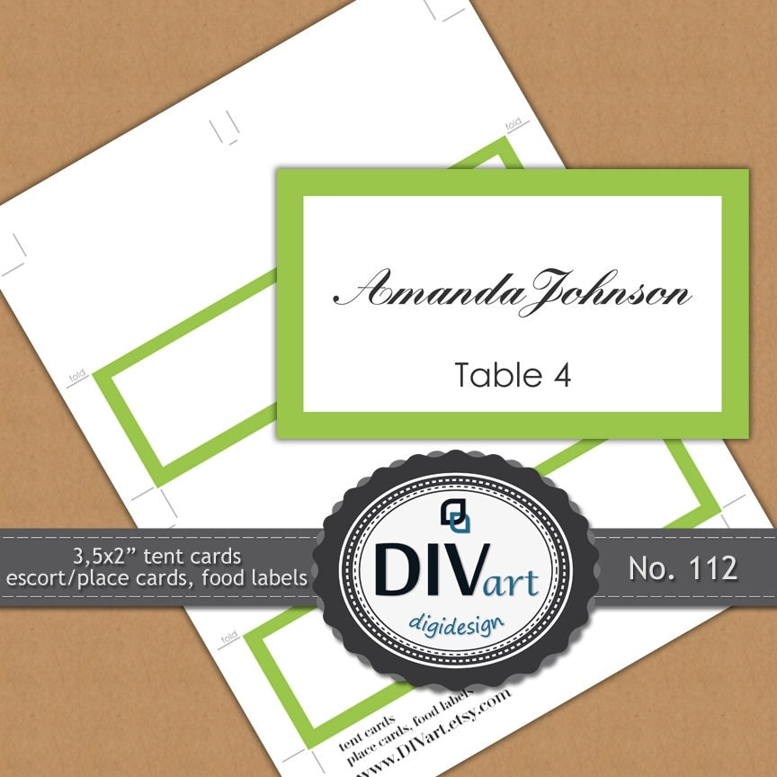 "PRINTABLE 3,5x2"" Place Cards, Escort Cards, Food Labels, Gift Tags, Thank you Tags - lemon green - No. 112"