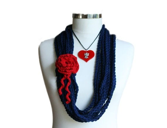 Nautical Chain Necklace with Angel Red Heart - Navy Blue and Red - Women and Teens Accessories - Spring Fashion - ForYouDesign