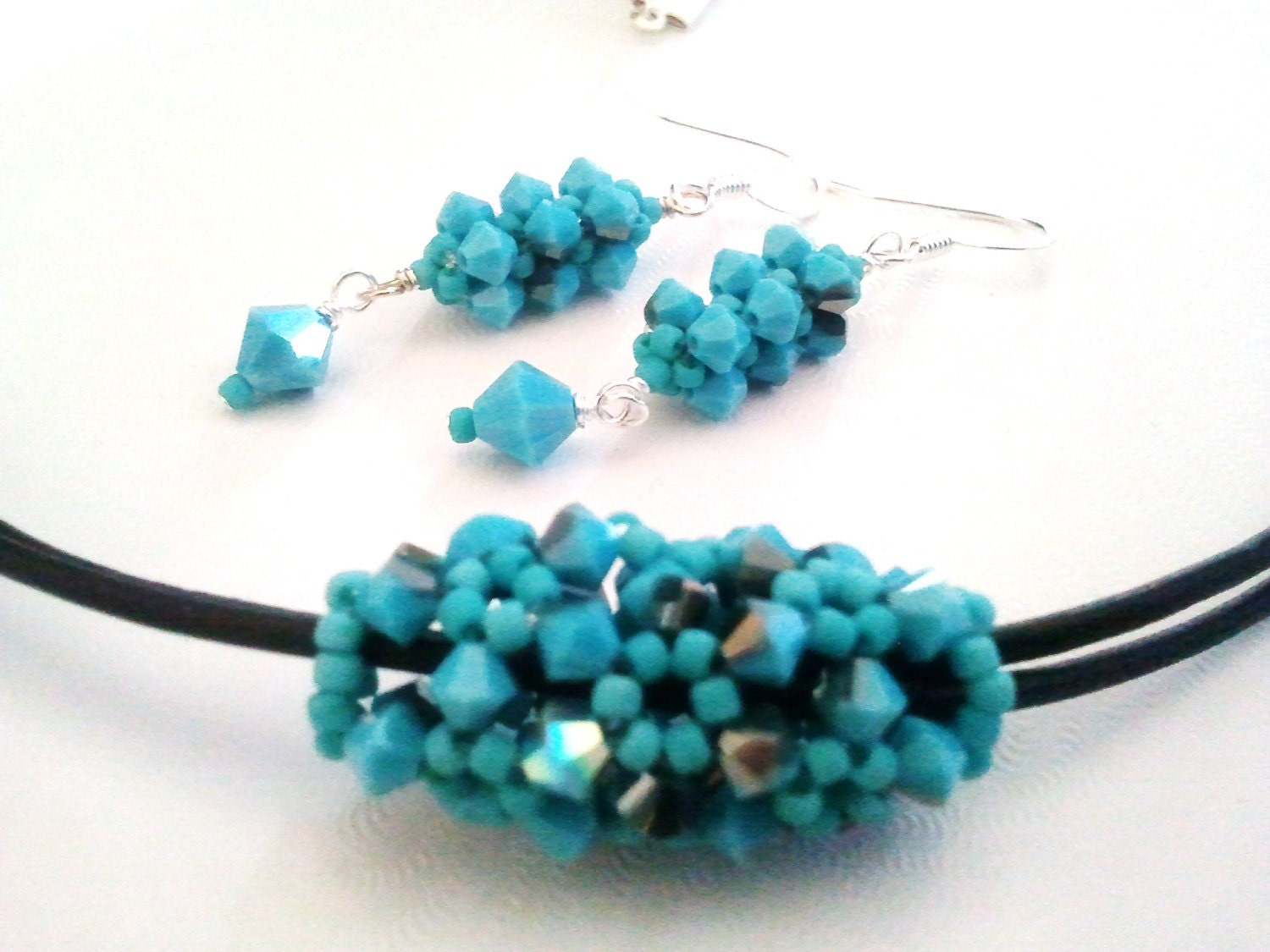 Beaded Swarovski Crystal blue Pendant, black leather Necklace & Earrings Set
