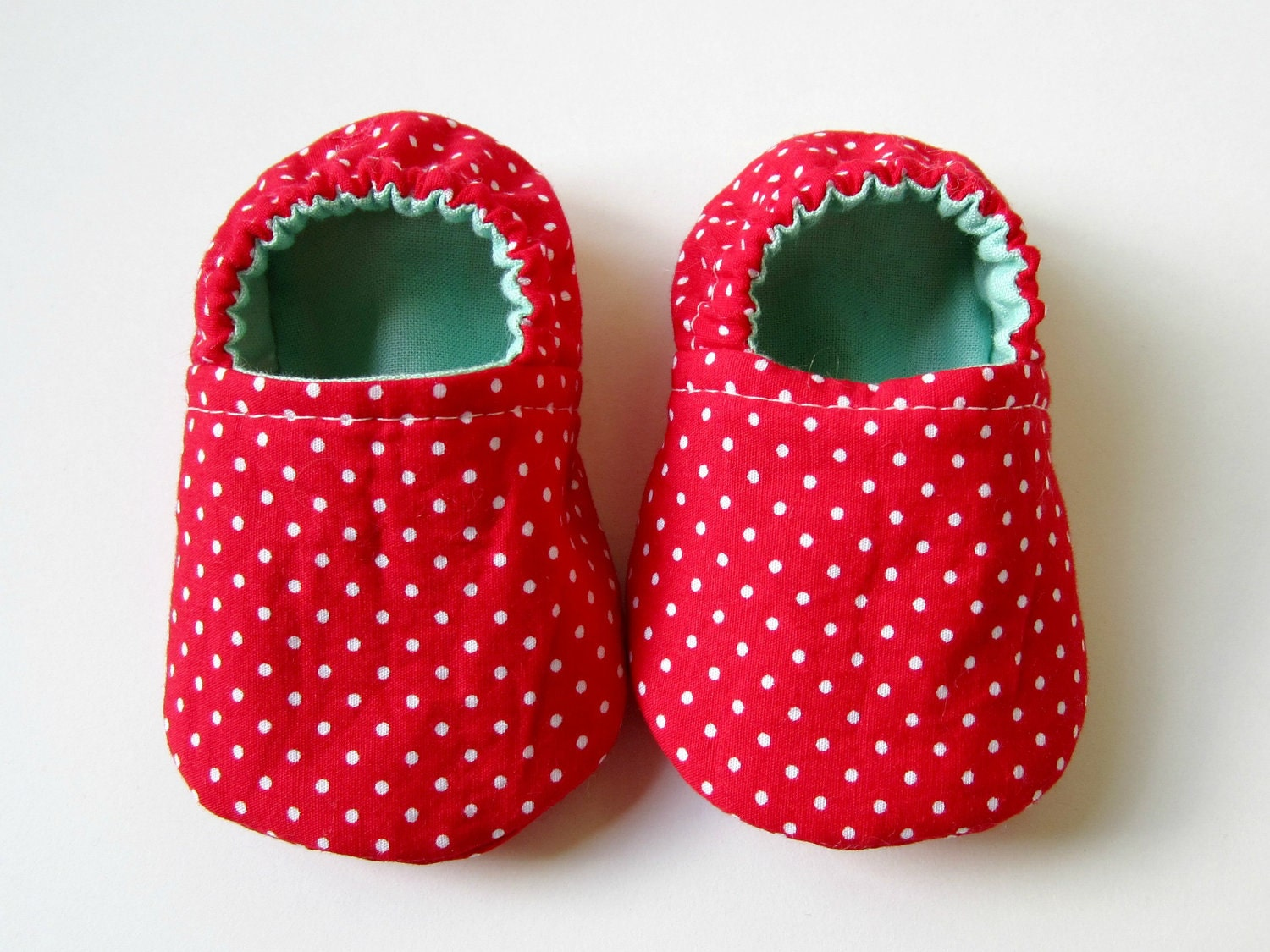NEW - Reversible Baby Booties in Red, White, and Aqua with Polka Dots - Sizes 1-4