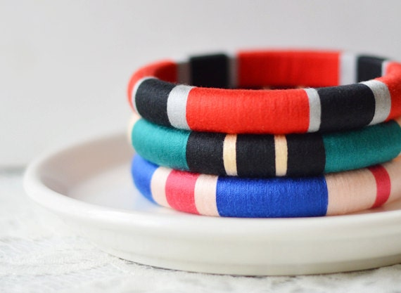 Modern. Geometric. Colorful. Set of 3 Thread  Bangles in Jewel Tone Colors - no. 500F - theglossyqueen