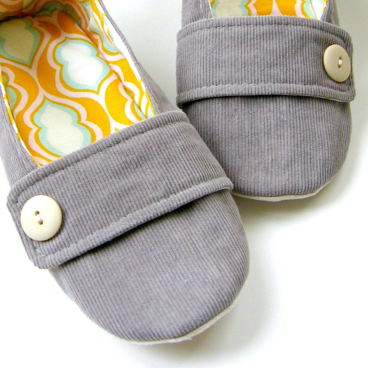 Women's Slippers - Grey Corduroy, Tangerine Yellow and Aqua 'Moli-Maude' House Slippers - Molipop