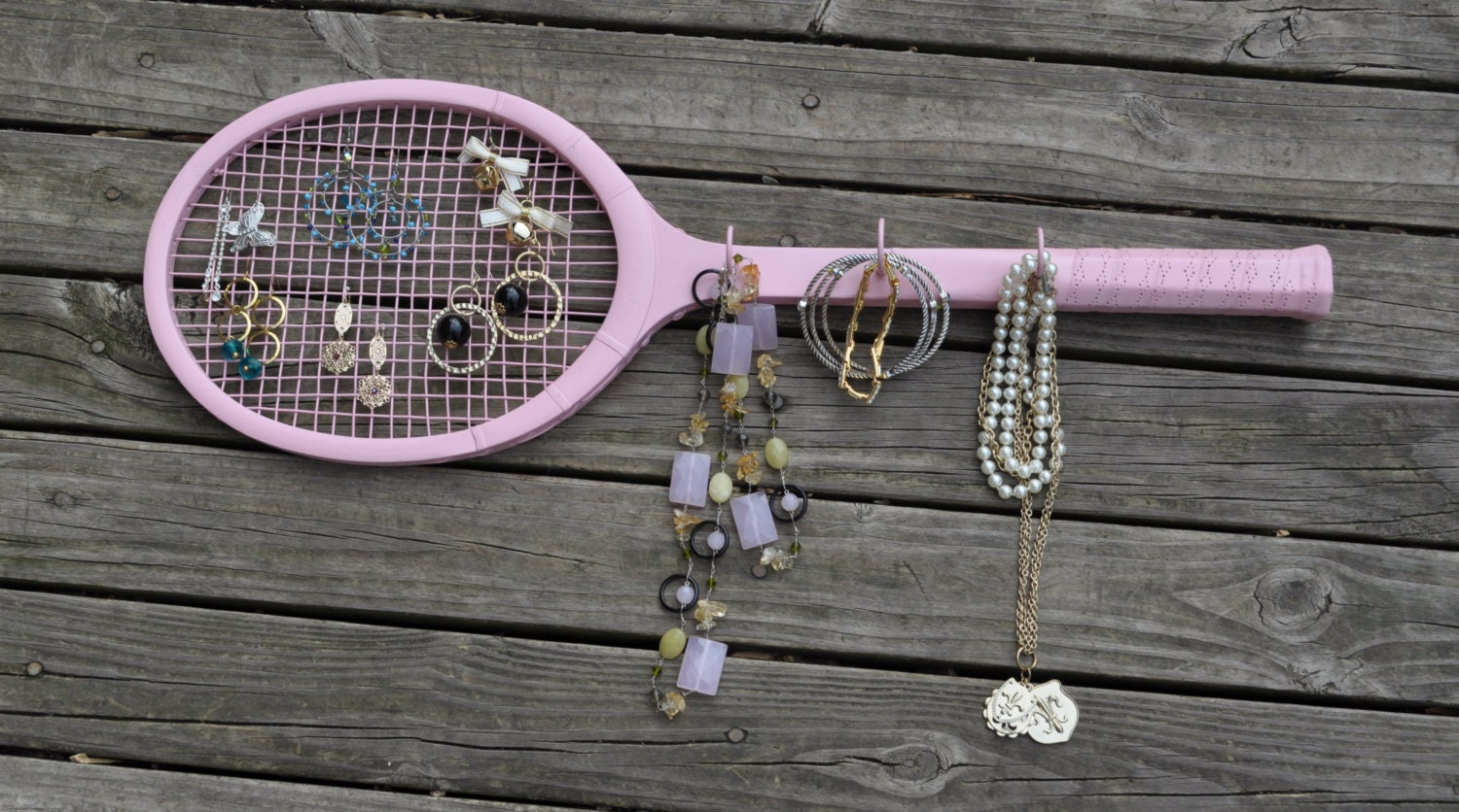Retro Wooden Tennis Racket Jewelry Storage