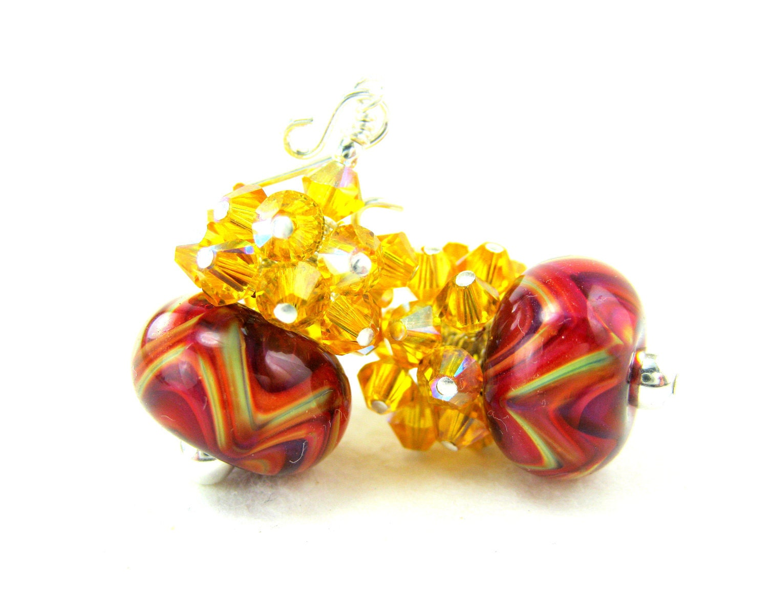 Red Yellow Glass Bead Earrings, Red Yellow Orange Pink Boro Lampwork Earrings, Colorful Earrings, Red Earrings - Sunny Side Up - GlassRiverJewelry