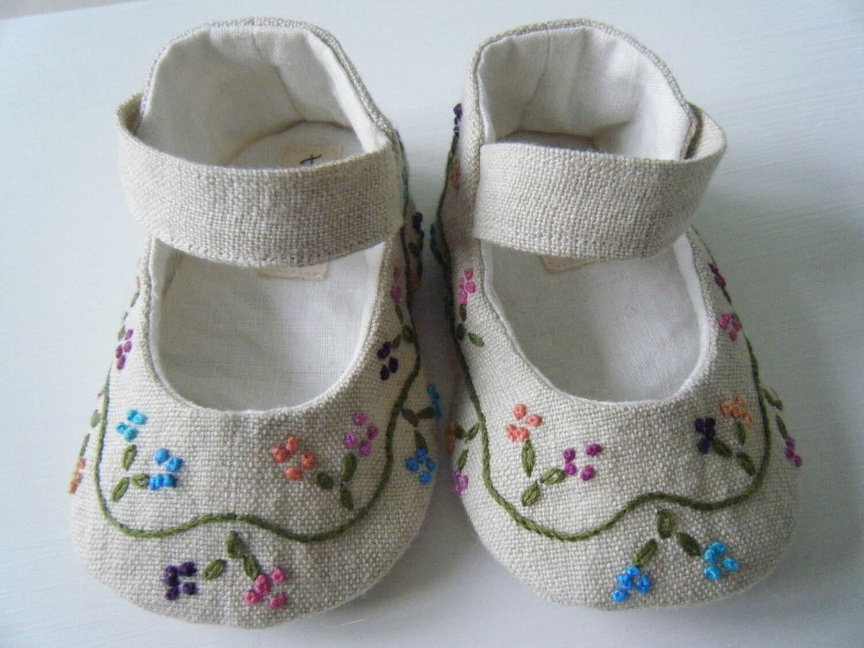Органическое белье Конопля ручной вышивкой Мэри Джейн обуви для вашего ребенка девушка