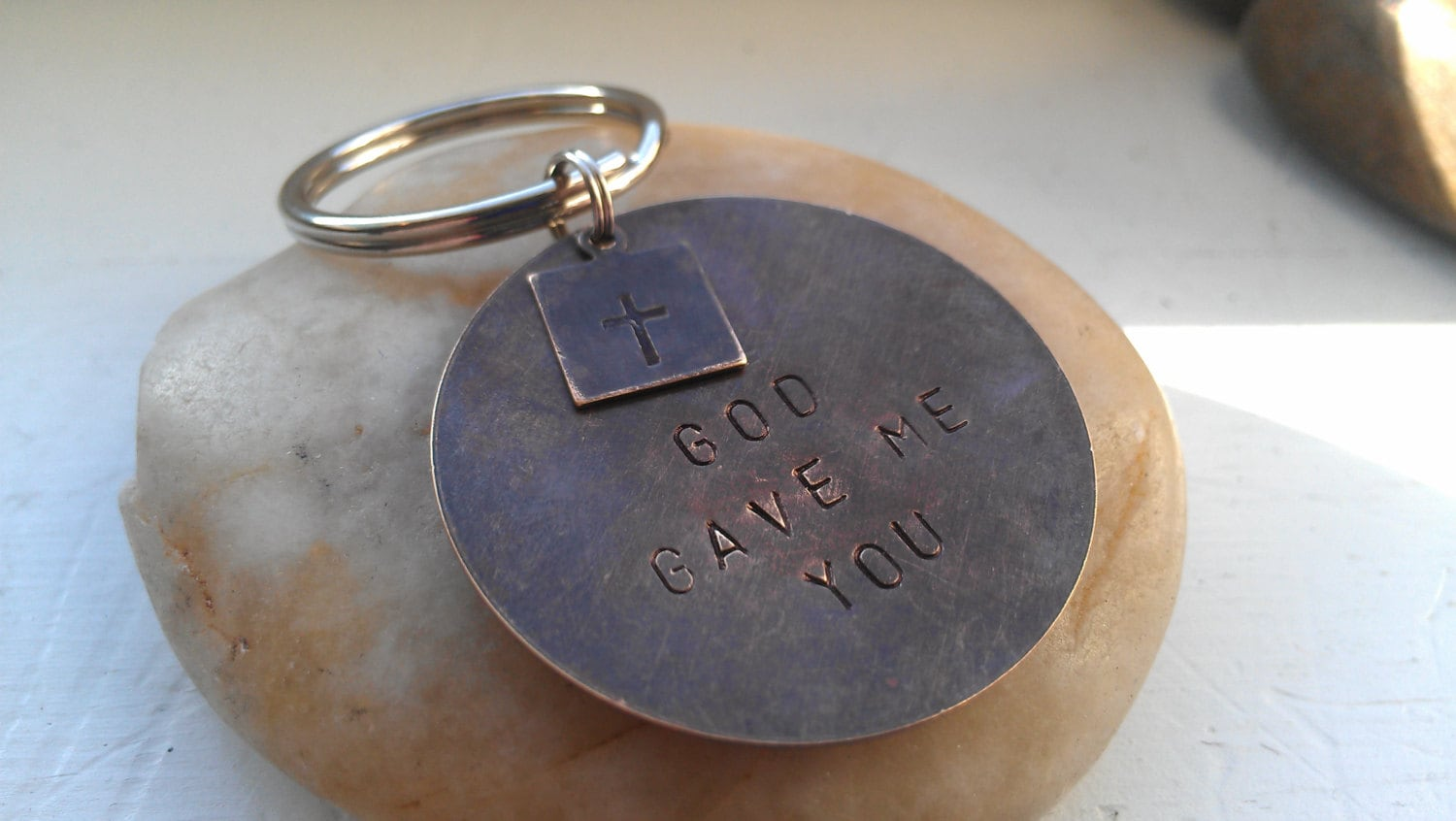 Mens keychain gifts for dad grandpa personalized hand stamped GOD gave me you