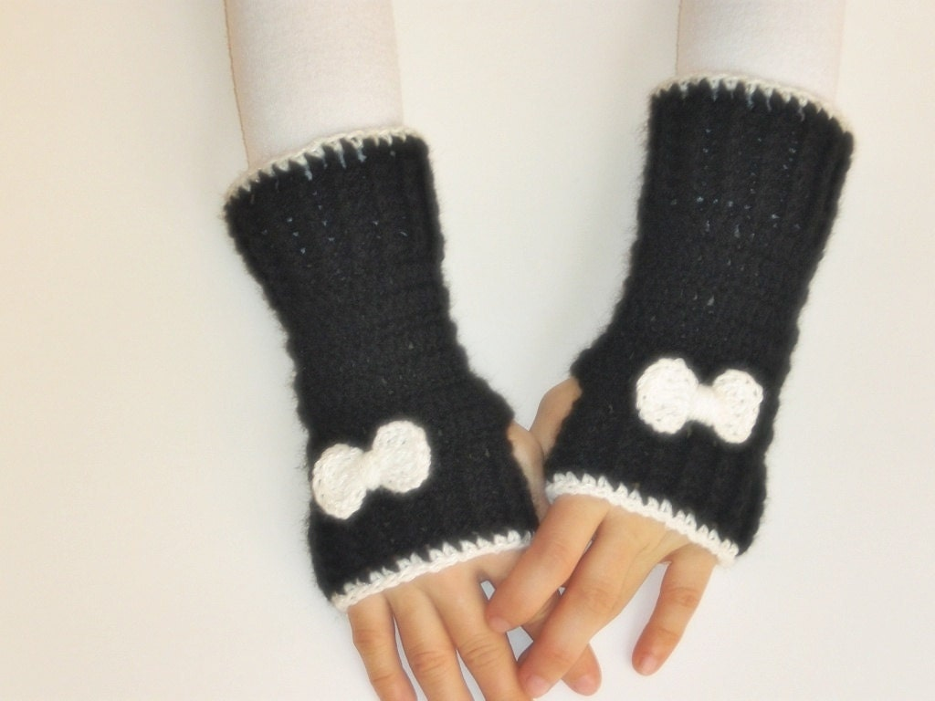 Ready to ship- Hand Crochet Fingerless Gloves mittens black white with bow tie