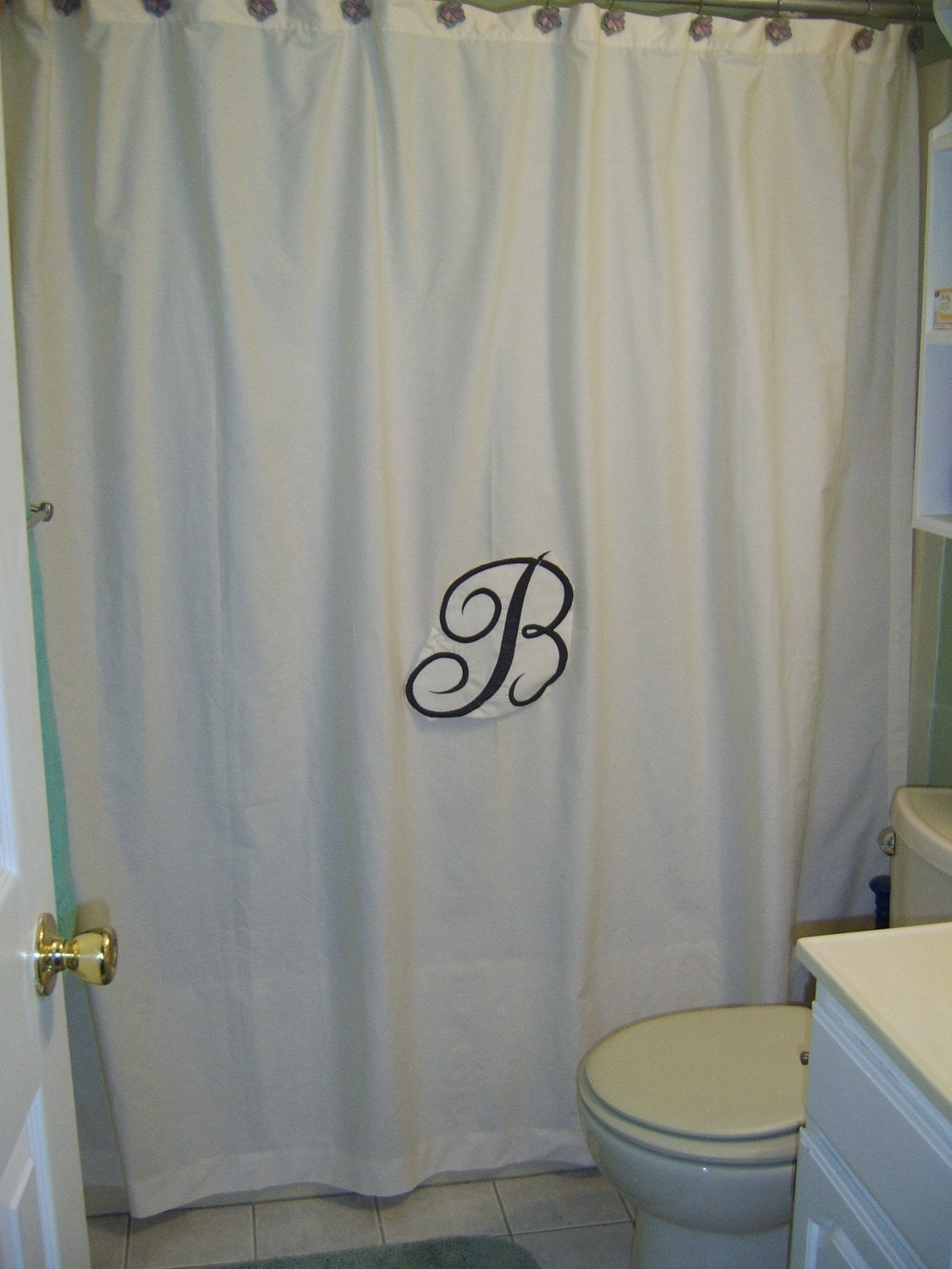 Personalized White or Cream Shower STALL curtain by quilting4mama