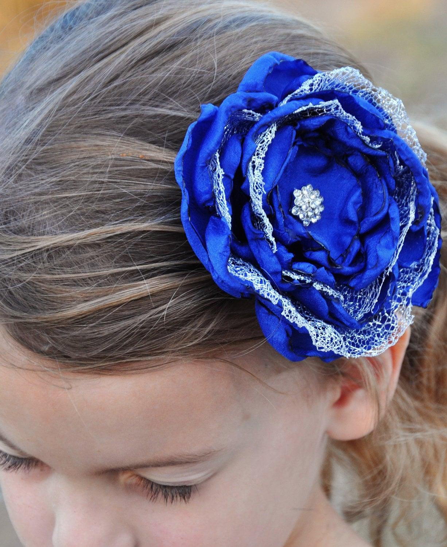 Blue and Silver Flower Clip, Handmade Blue Flower - PixiePetalsHandmade
