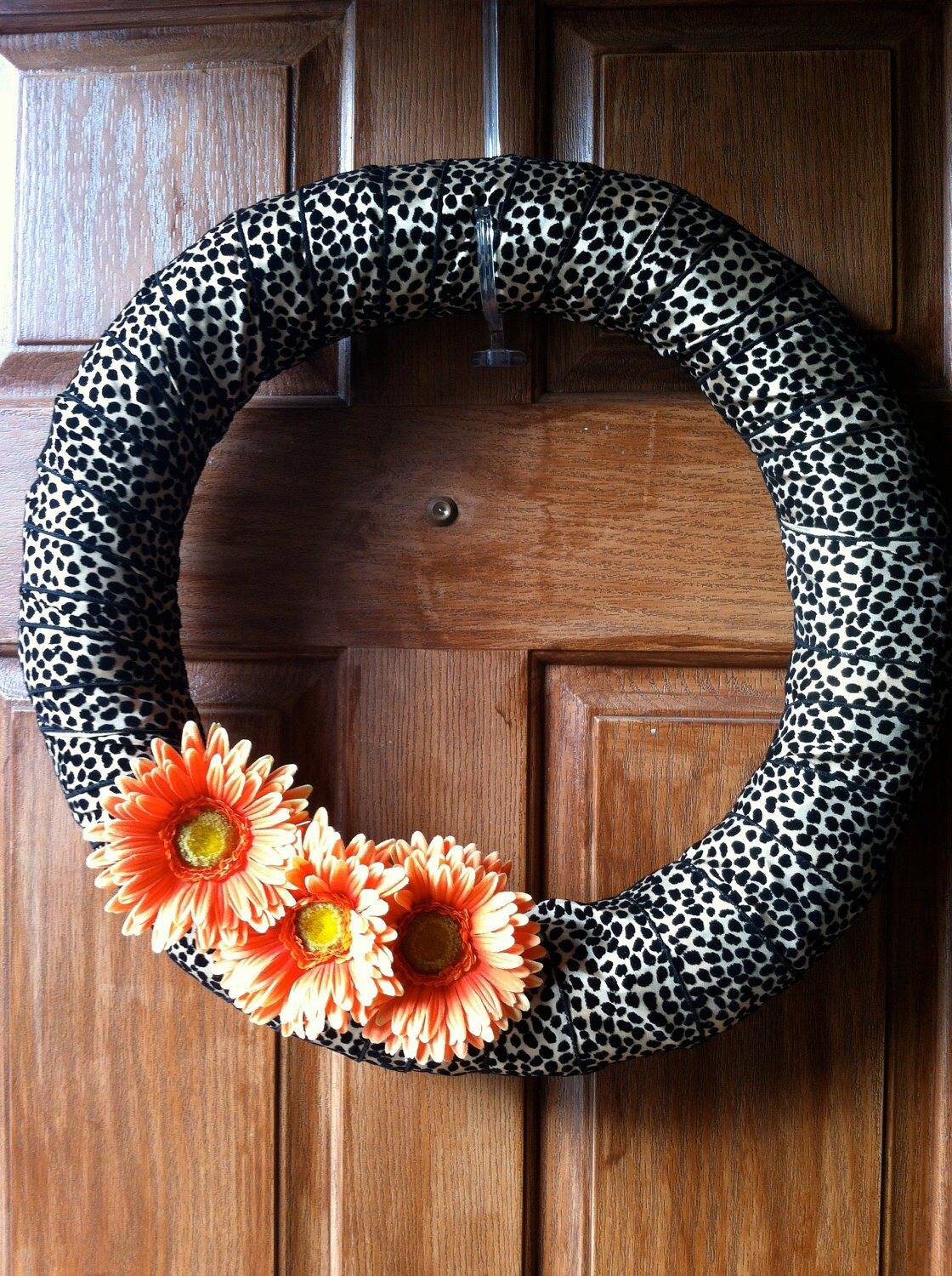 Cheetah and Orange Sunflower Wreath