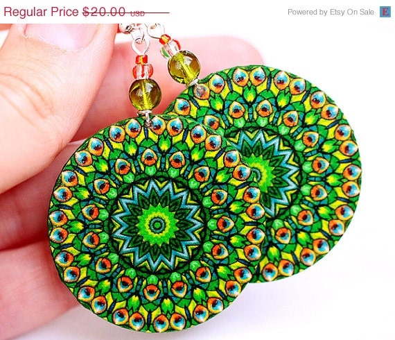 SALE Peacock Green  Round decoupage earrings ,  gift for her under 25 - MADEbyMADA