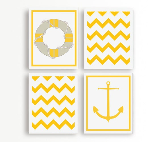 Set of Four Yellow and White Nautical Art Prints, Float and Anchor, 8x10, Modern Wall Art, Yellow and White Pattern Art Print