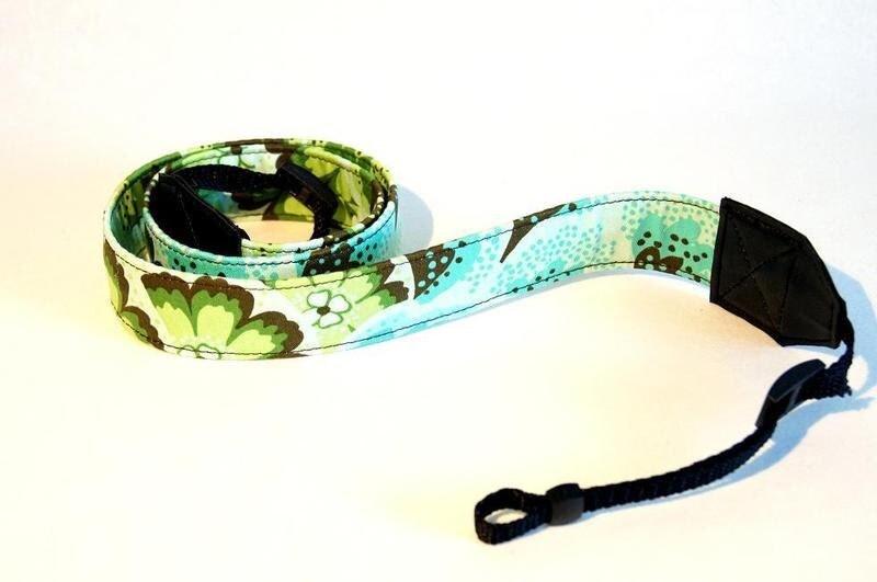 Kameragurt, Kameraband DSLR Blumen türkis grün