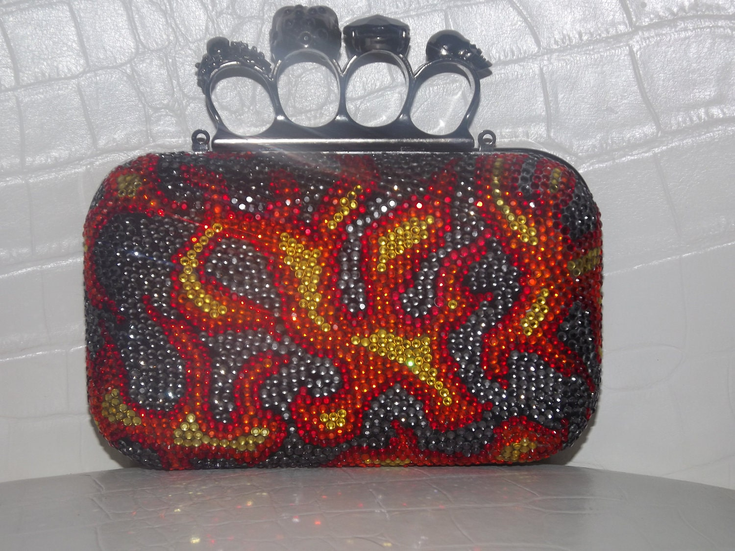 Custom Made Flame Clutch with knuckle rings