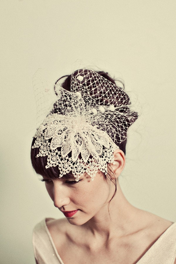 Venetian lace cap headband with chenille dot netting- style 116