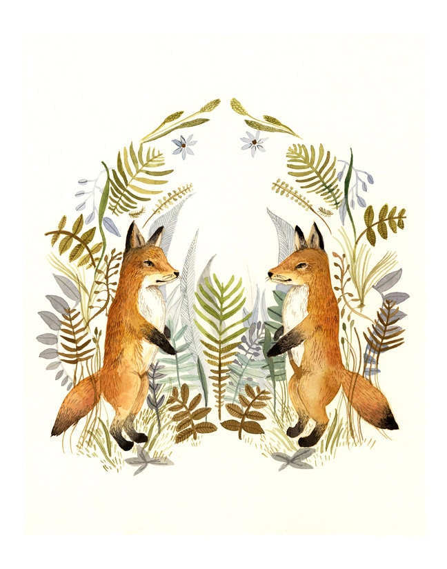 Foxes and Ferns print of watercolor