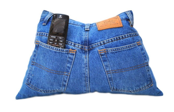 Upcycle Восстановленный Designer джинсы ТВ пульт управления Карман для хранения Подушка