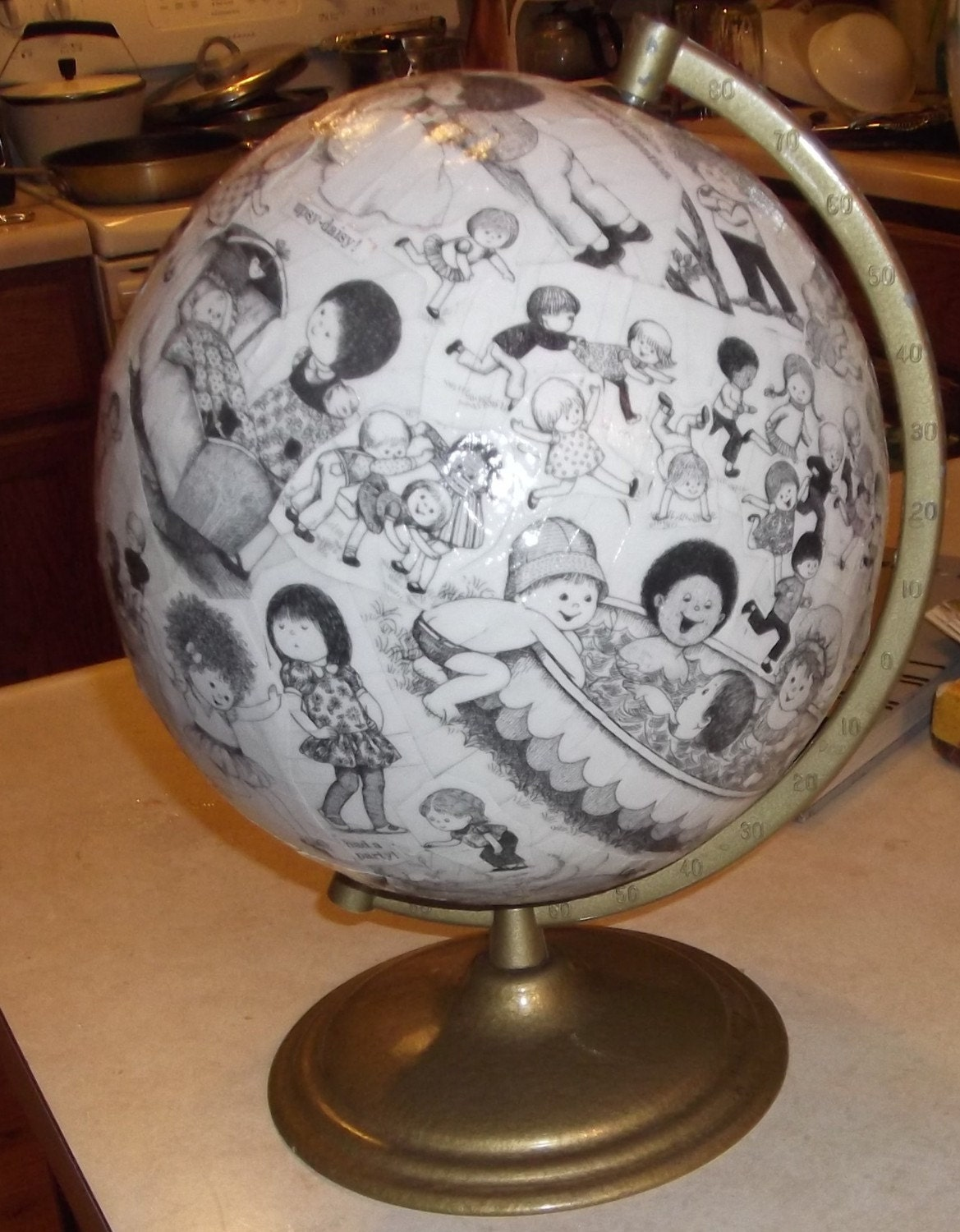 decoupage globe  it's a small world