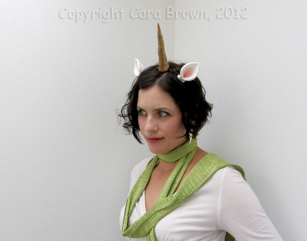 Unicorn Horn Costume Headband with ears Halloween or Festival handmade polymer clay gold - TheElfinForest