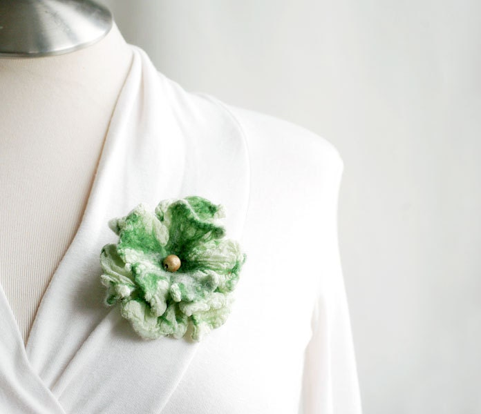 Hostess flower pin felt silk brooch nuno felted gift green emerald moss mint - gifts under 25 - CityCrochet