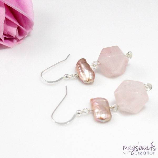 Statement Earrings, Pink Quartz Earrings, Rose Quartz Jewelry, Mauve Pearls, Stick Pearls, Pink Spring Earrings, Pastel Pink Jewelry - magsbeadscreation