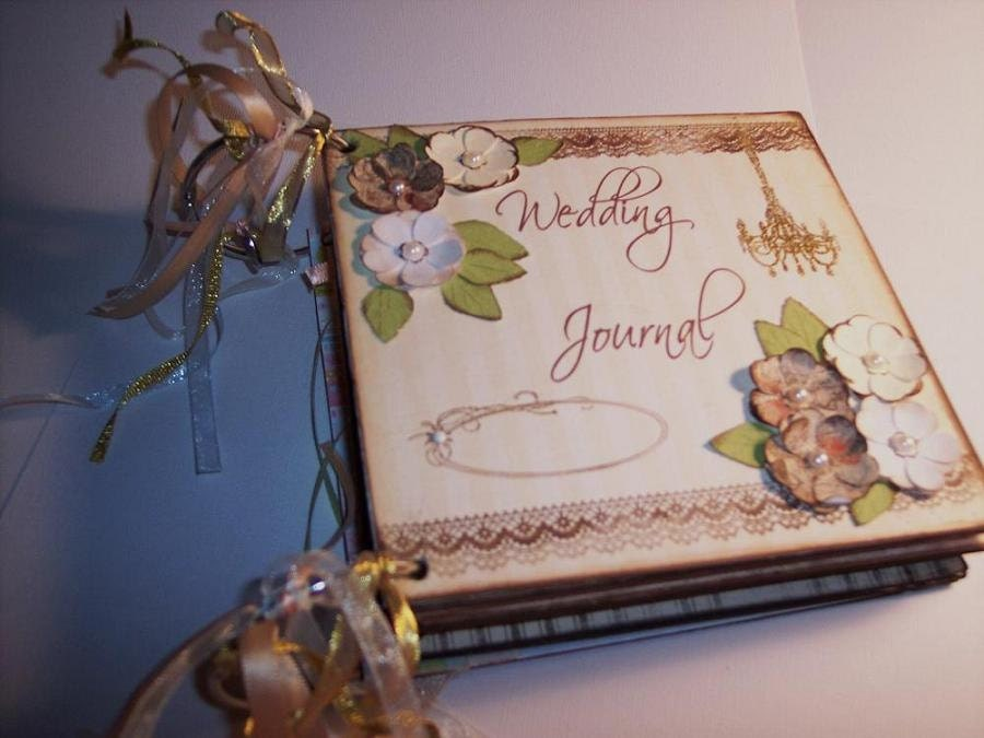 6 x 6 Premade Shabby, Vintage Chipboard Wedding Keepsake Scrapbook Journal for the Bride To Be