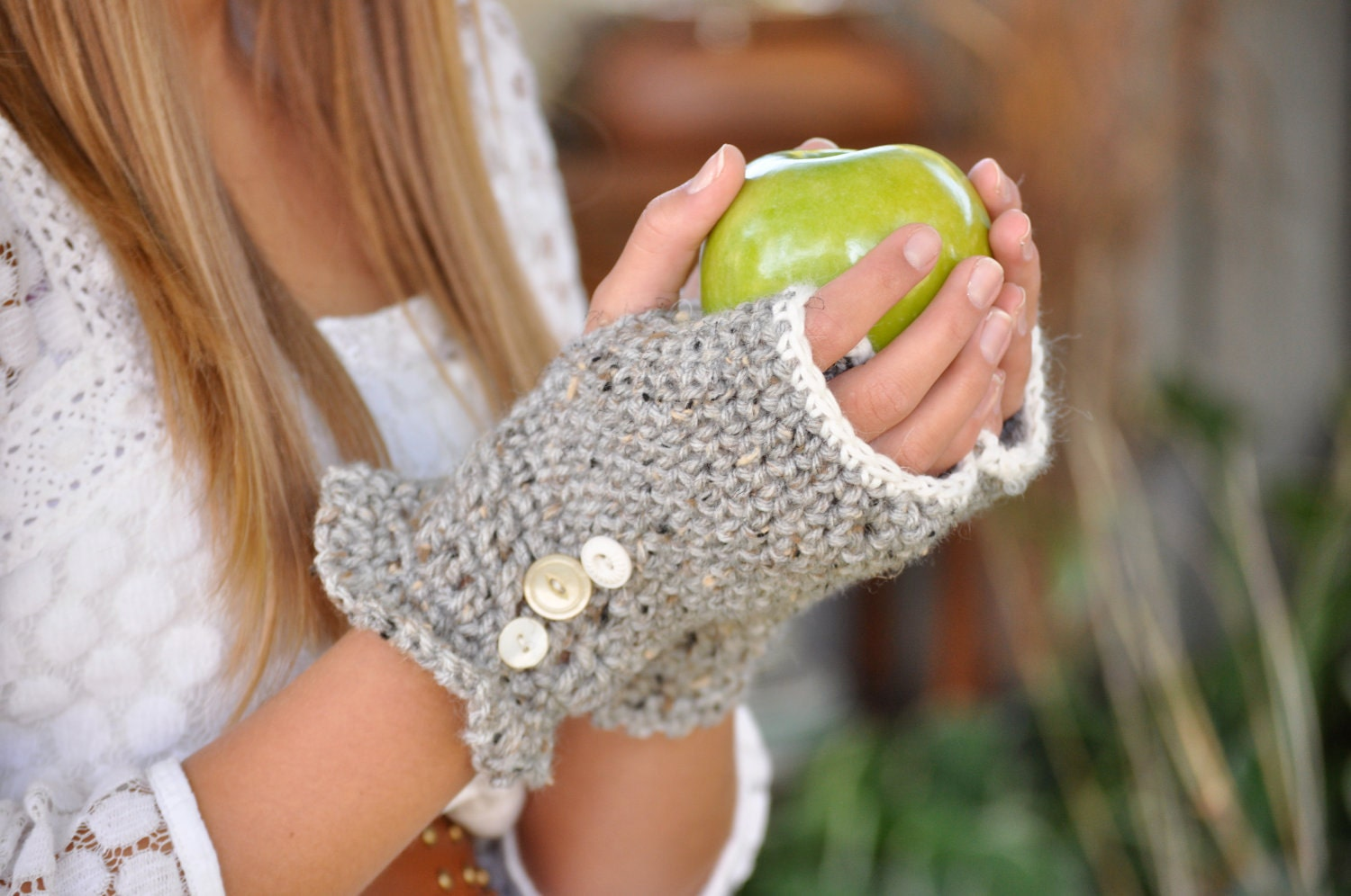 Grey mixed vintage buttons fingerless gloves