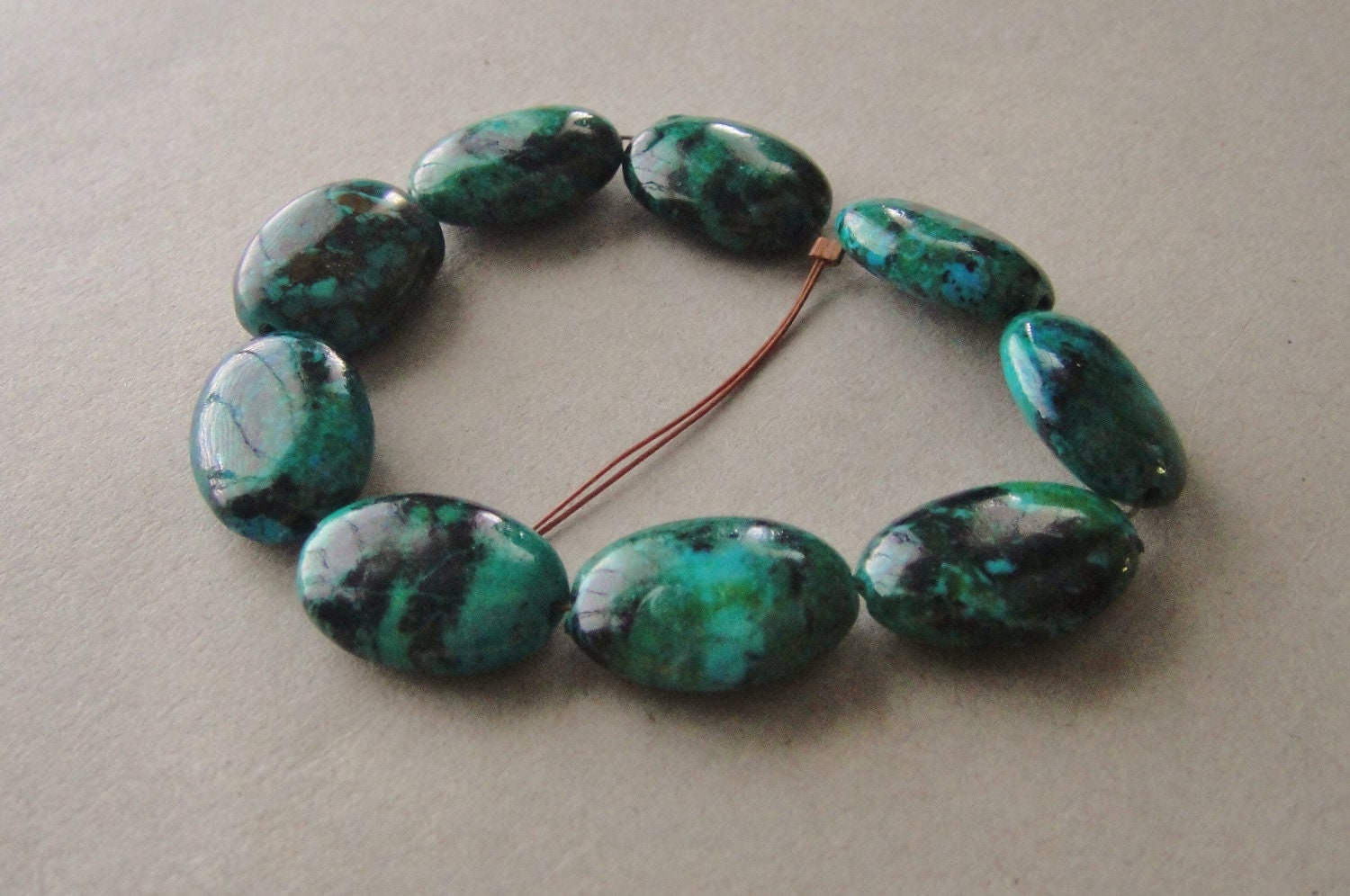 Chrysocolla, Smooth Oval Nuggets 9 Beads