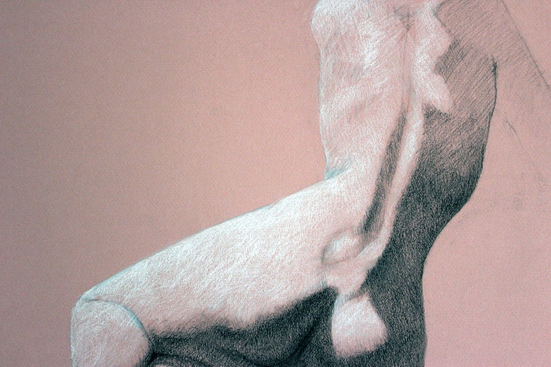 Figure drawing on rose paper - allartbyjames