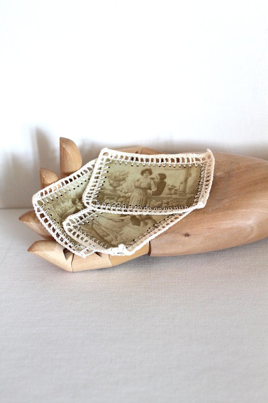 Vintage Lace Метки Скрапбукинг Поставки называет викторианской сепия вязания Набор из трех