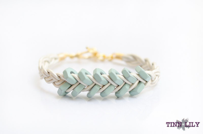 TINNLILY Leather Mint Hex Nut Bracelet - TINNLILY