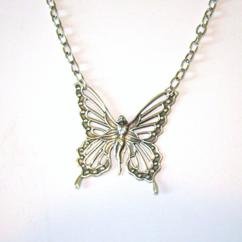 Fairy Butterfly Pendant Necklace-Silver - SandraPennJewelry