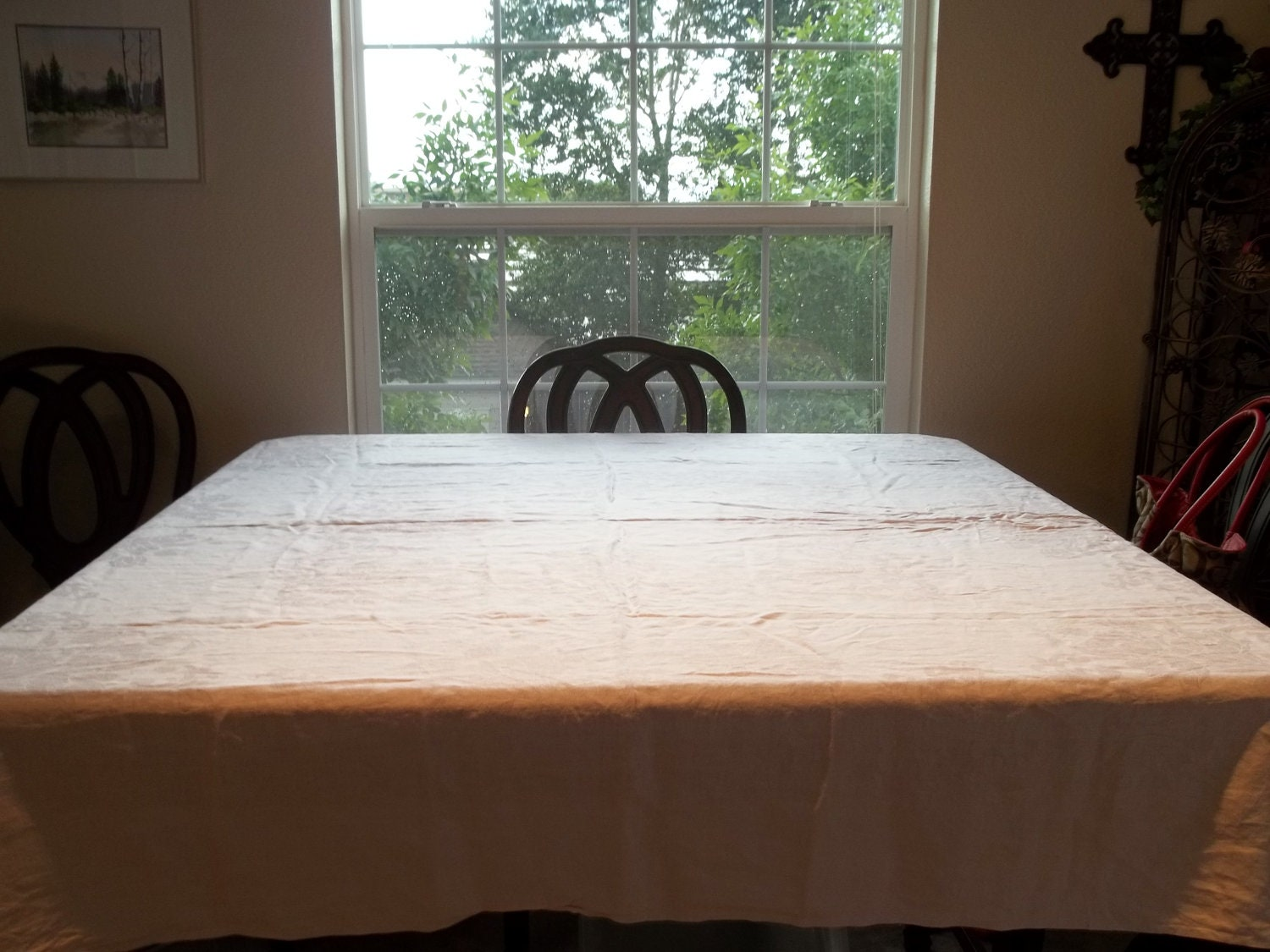 Tablecloth Floral Embossed Table Linen 70 X by SuzyQsVintageShop