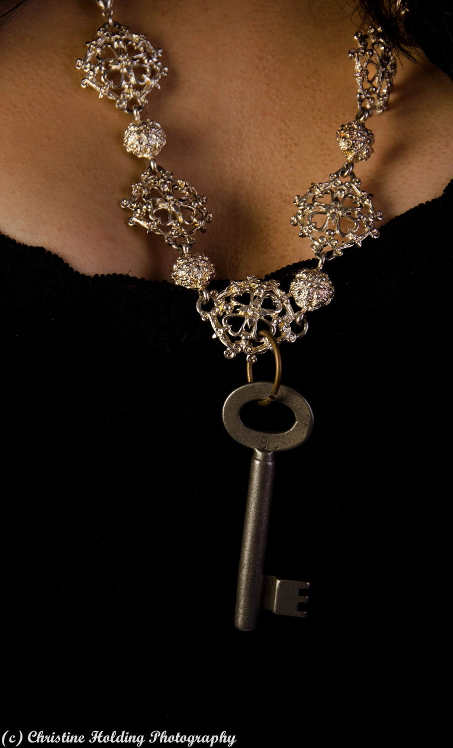 filigree necklace with antique skeleton key