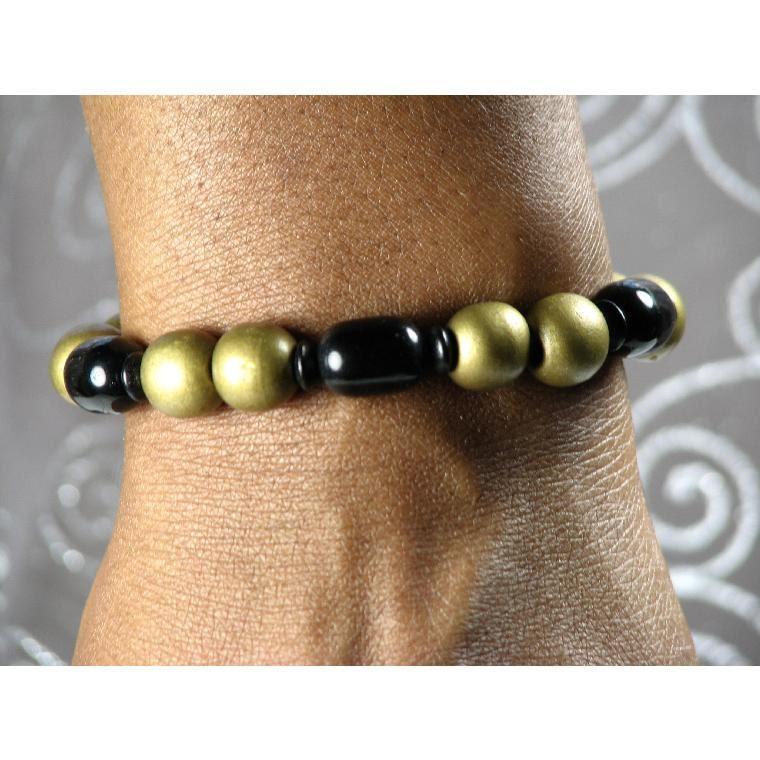Men's Bracelet with Blackstone and Bronze Wood