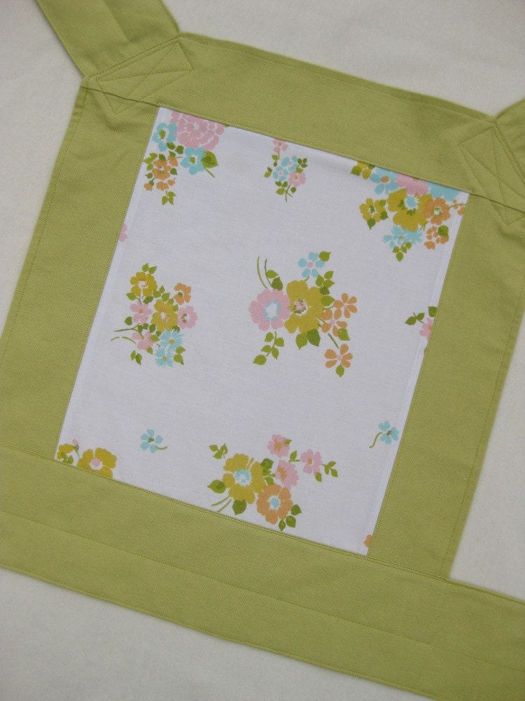 One of a Kind Citron Straps with Vintage Sheet Panel Mei Tai Baby Carrier by Big Sister Designs
