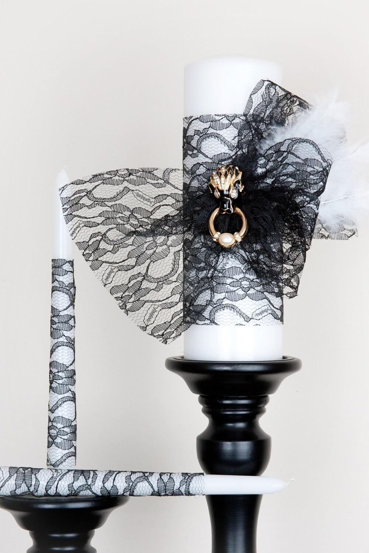 Unity Candle Set - Black Lace - Gold-Diamond Brooch