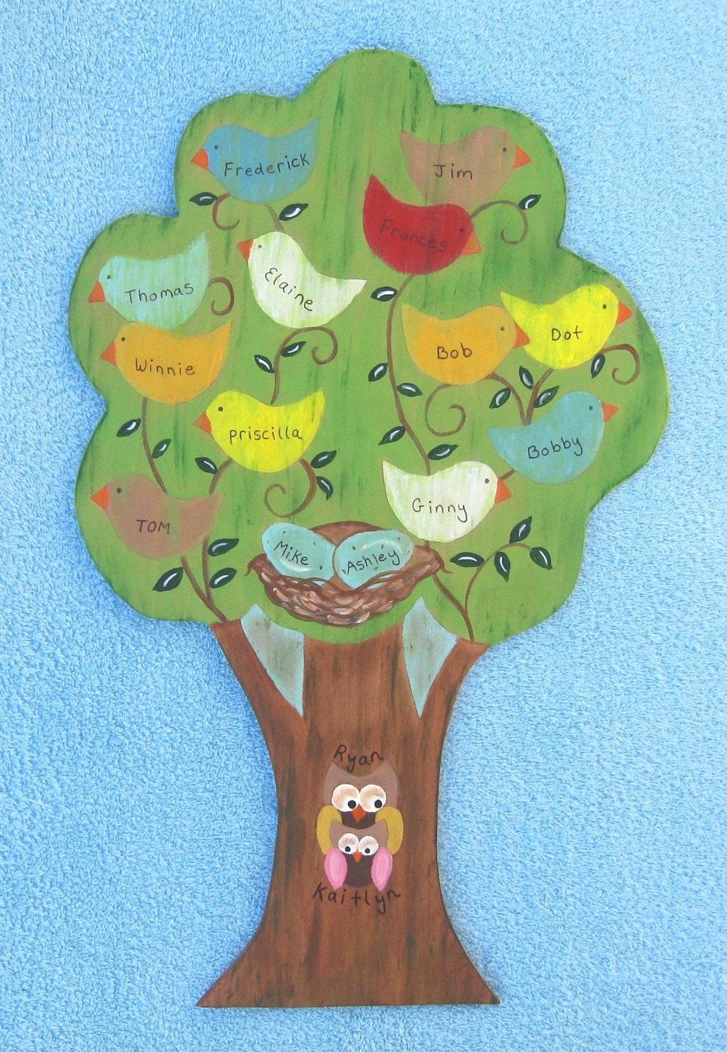 Family Tree Персонализированные экологию древесины народного искусства на стене Войти на Storytime АРТ