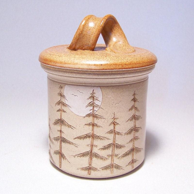 Pine Tree and Moon  Lidded Pottery Jar (crock style) Ltd Ser 23 (salsa relish candy) - JimAndGina