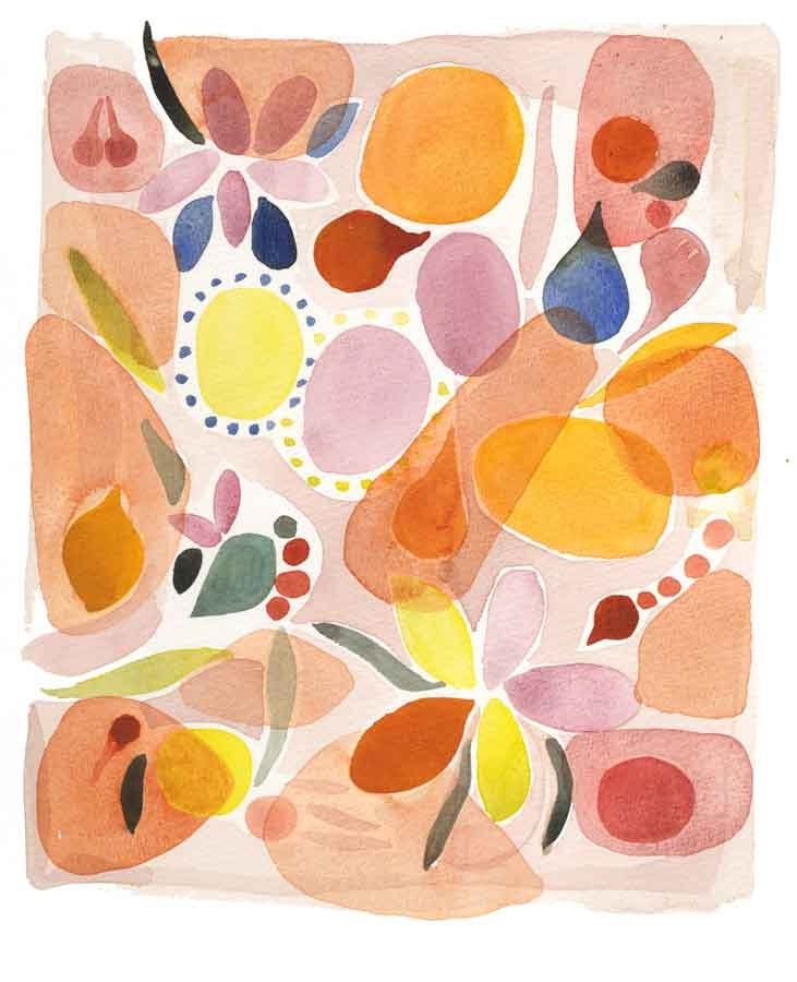 Orange Nature print from original watercolor painting - wall Art - organical forms nectarine peach