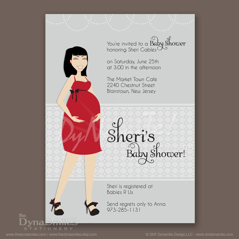 Pregnant Diva - Baby Shower Invitation - Asian Inspired - Bangs Cut Hair Style