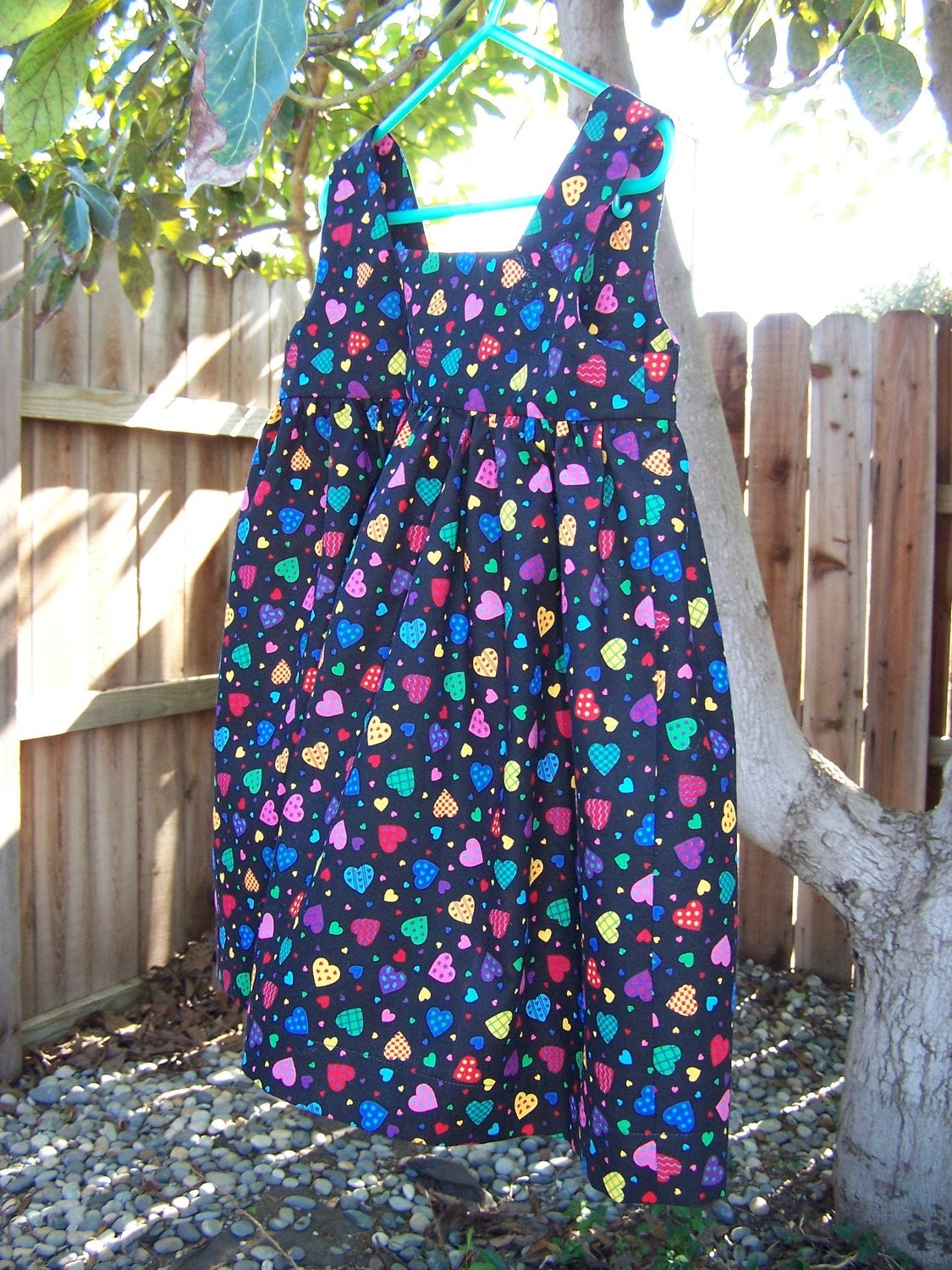 Pinafore 3T heart print on black