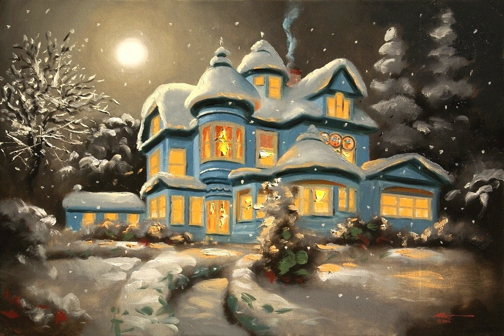 House winter snow moonlight 24x36 oils on canvas painting by RUSTY RUST / M-240