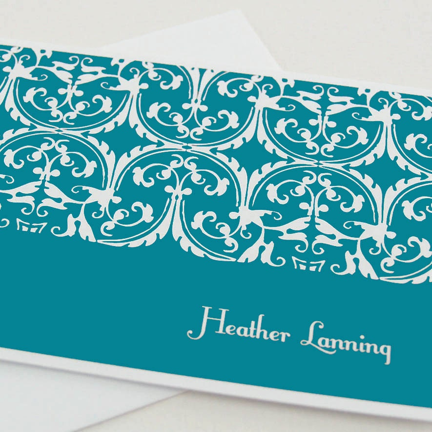 personalized note cards stationery set -classic ornamental (8) CHOOSE color