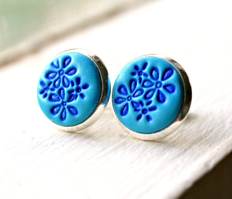 lil blue posies stamped polymer clay silver post earrings