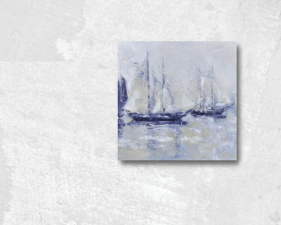 Sails Up - Impressionist seascape painting, framed, ready to hang - LonBrauerStudios