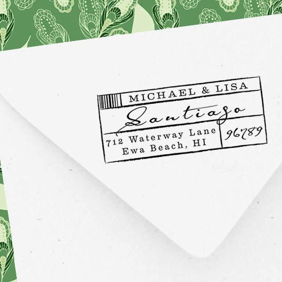 Self Inking Address Stamp, Custom Address Stamp, Self Inking Rubber Stamp, iStamp, Pre Inked, Calligraphy Stamp, Personalized Gift - 1201