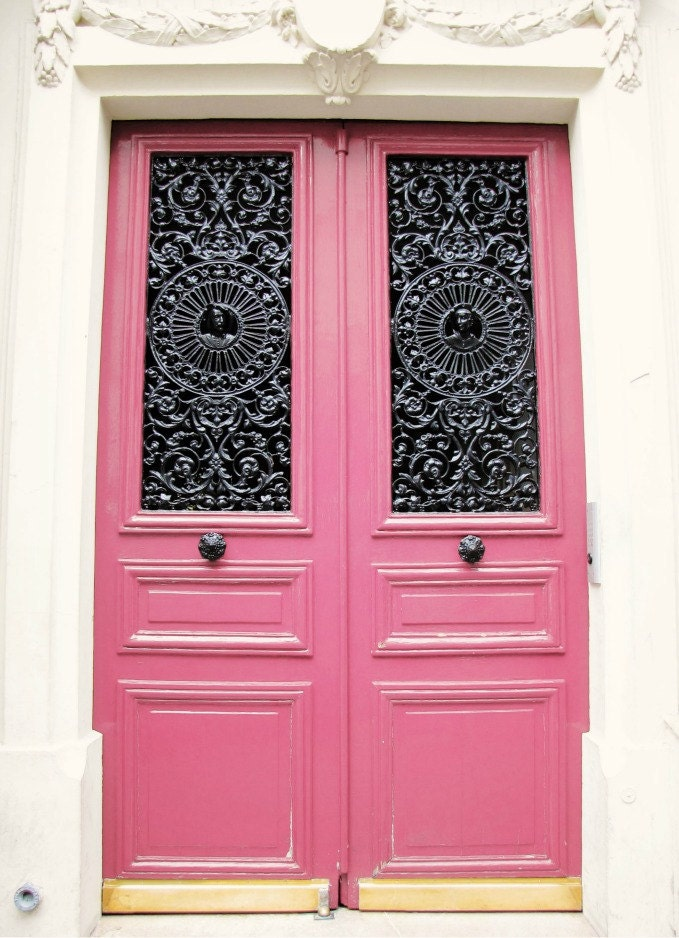 Paris Photo - 9x12 Pink Door, Hot Pink and Black - French Doors, Fashion - Women - Black and White - White Wall - Peony, Honeysuckle
